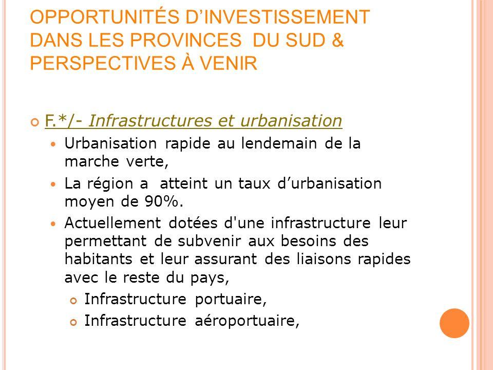 OPPORTUNITÉS DINVESTISSEMENT DANS LES PROVINCES DU SUD & PERSPECTIVES À VENIR F.*/- Infrastructures et urbanisation Urbanisation rapide au lendemain d