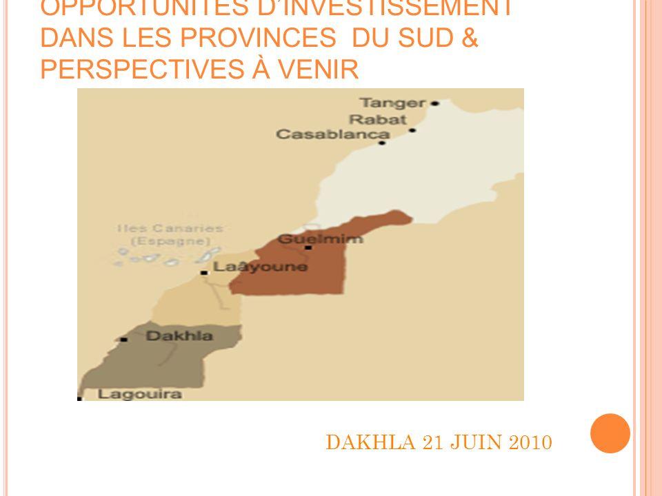 OPPORTUNITÉS DINVESTISSEMENT DANS LES PROVINCES DU SUD & PERSPECTIVES À VENIR I/ Présentation Générale 58,6% de la superficie nationale, (416.474 Km²) Lécosystème: Domaine saharien montagneux, Zone saharienne très aride à l Est Désert côtier La pluviométrie peu abondantes et permet une végétation qui sert de pâture au cheptel des éleveurs.