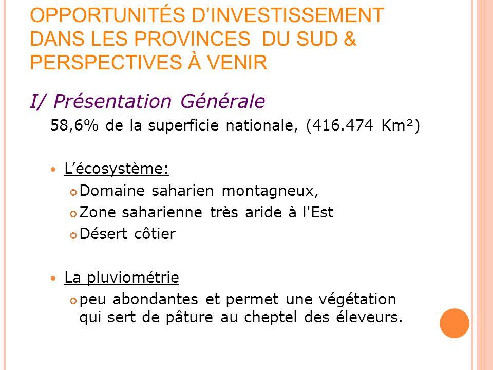 OPPORTUNITÉS DINVESTISSEMENT DANS LES PROVINCES DU SUD & PERSPECTIVES À VENIR I/ Présentation Générale 58,6% de la superficie nationale, (416.474 Km²)