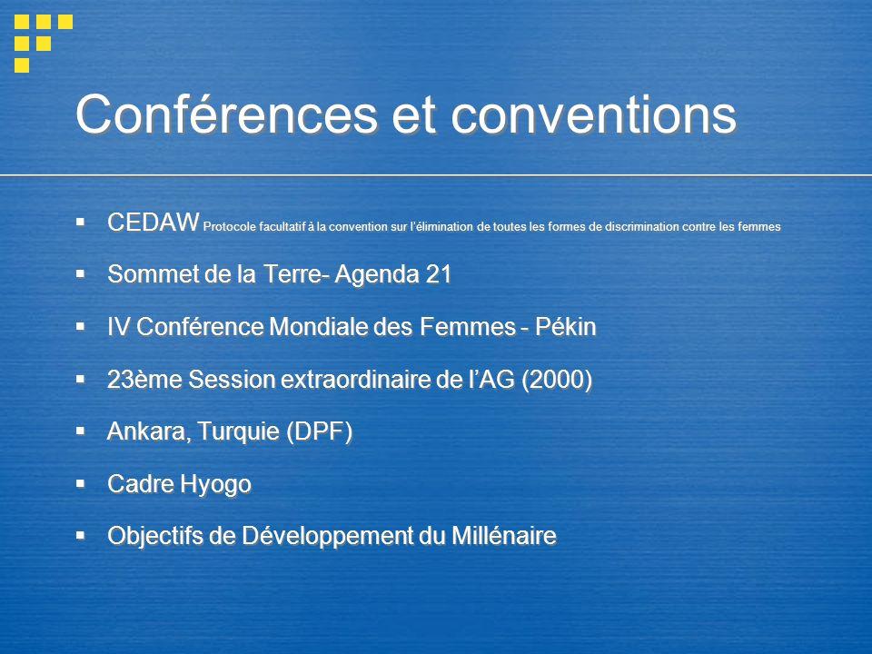 Conférences et conventions CEDAW Protocole facultatif à la convention sur lélimination de toutes les formes de discrimination contre les femmes Sommet