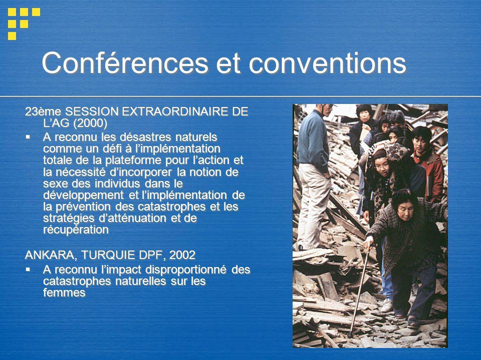 Conférences et conventions 23ème SESSION EXTRAORDINAIRE DE LAG (2000) A reconnu les désastres naturels comme un défi à limplémentation totale de la pl