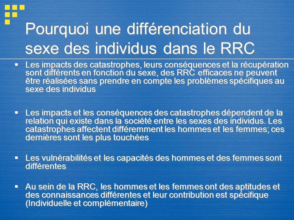 Pourquoi une différenciation du sexe des individus dans le RRC Les impacts des catastrophes, leurs conséquences et la récupération sont différents en