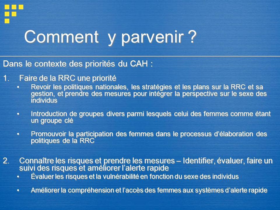 Comment y parvenir ? Dans le contexte des priorités du CAH : 1.Faire de la RRC une priorité Revoir les politiques nationales, les stratégies et les pl