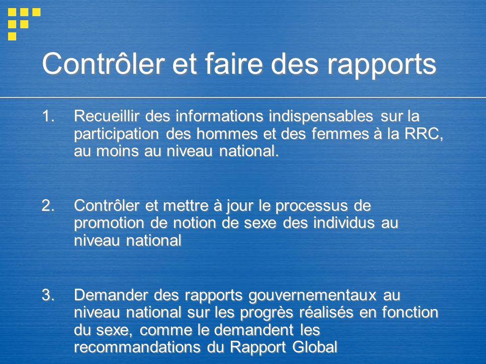 Contrôler et faire des rapports 1.Recueillir des informations indispensables sur la participation des hommes et des femmes à la RRC, au moins au nivea