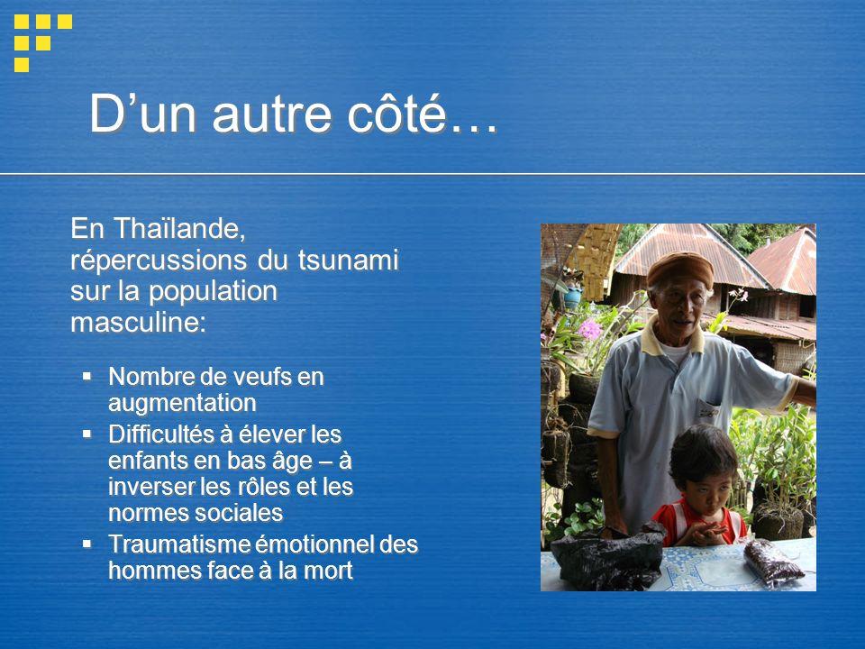 En Thaïlande, répercussions du tsunami sur la population masculine: Nombre de veufs en augmentation Difficultés à élever les enfants en bas âge – à in