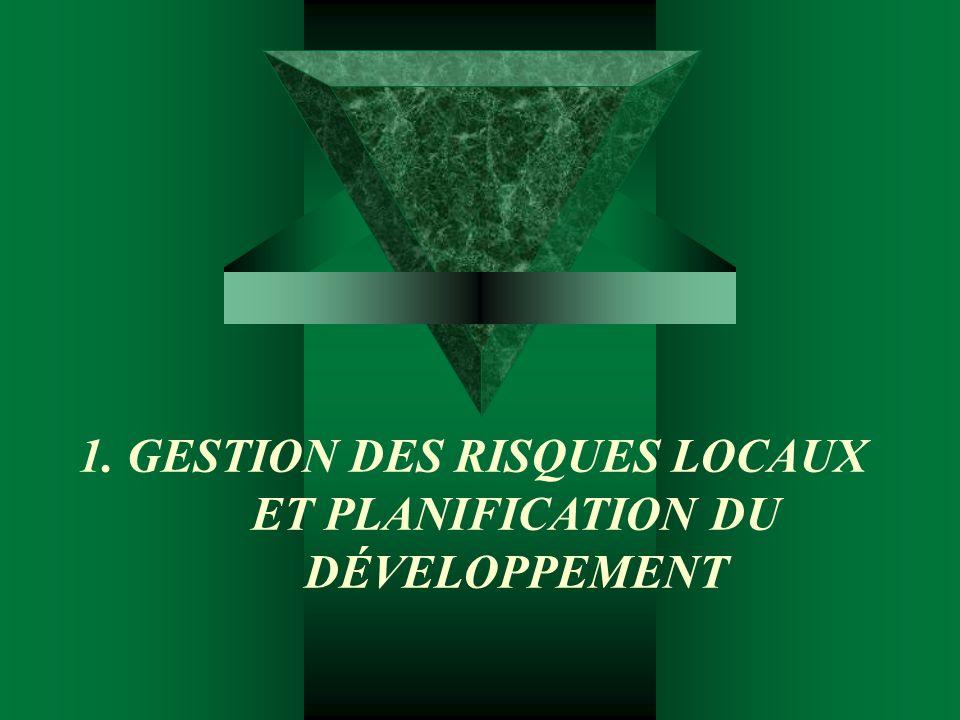 1. GESTION DES RISQUES LOCAUX ET PLANIFICATION DU DÉVELOPPEMENT