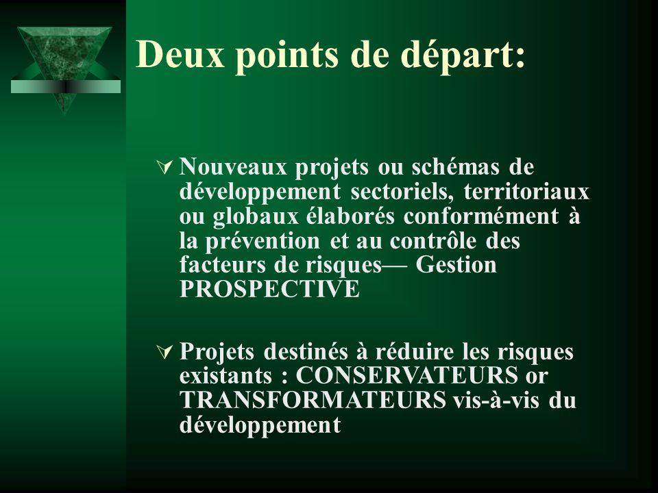 Deux points de départ: Nouveaux projets ou schémas de développement sectoriels, territoriaux ou globaux élaborés conformément à la prévention et au contrôle des facteurs de risques Gestion PROSPECTIVE Projets destinés à réduire les risques existants : CONSERVATEURS or TRANSFORMATEURS vis-à-vis du développement
