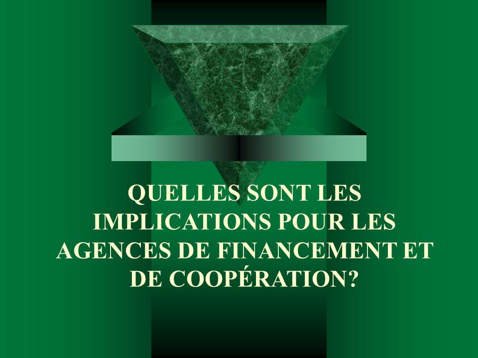 QUELLES SONT LES IMPLICATIONS POUR LES AGENCES DE FINANCEMENT ET DE COOPÉRATION