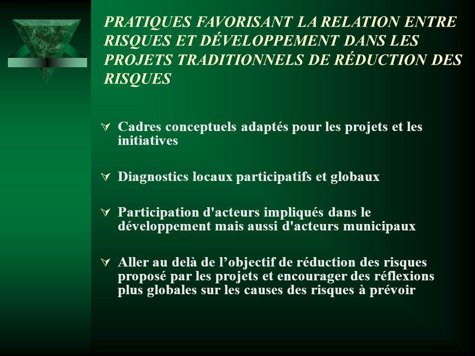 PRATIQUES FAVORISANT LA RELATION ENTRE RISQUES ET DÉVELOPPEMENT DANS LES PROJETS TRADITIONNELS DE RÉDUCTION DES RISQUES Cadres conceptuels adaptés pour les projets et les initiatives Diagnostics locaux participatifs et globaux Participation d acteurs impliqués dans le développement mais aussi d acteurs municipaux Aller au delà de lobjectif de réduction des risques proposé par les projets et encourager des réflexions plus globales sur les causes des risques à prévoir