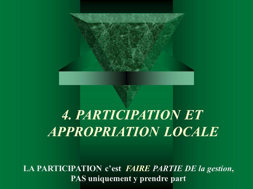 4. PARTICIPATION ET APPROPRIATION LOCALE LA PARTICIPATION cest FAIRE PARTIE DE la gestion, PAS uniquement y prendre part
