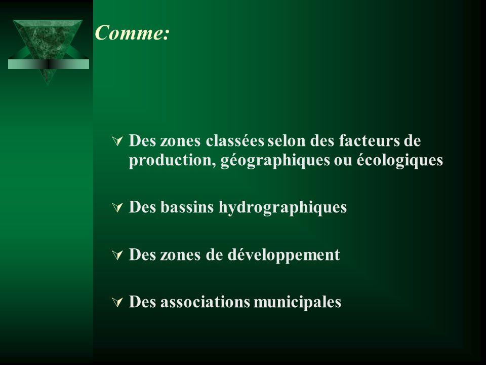 Des zones classées selon des facteurs de production, géographiques ou écologiques Des bassins hydrographiques Des zones de développement Des associations municipales Comme: