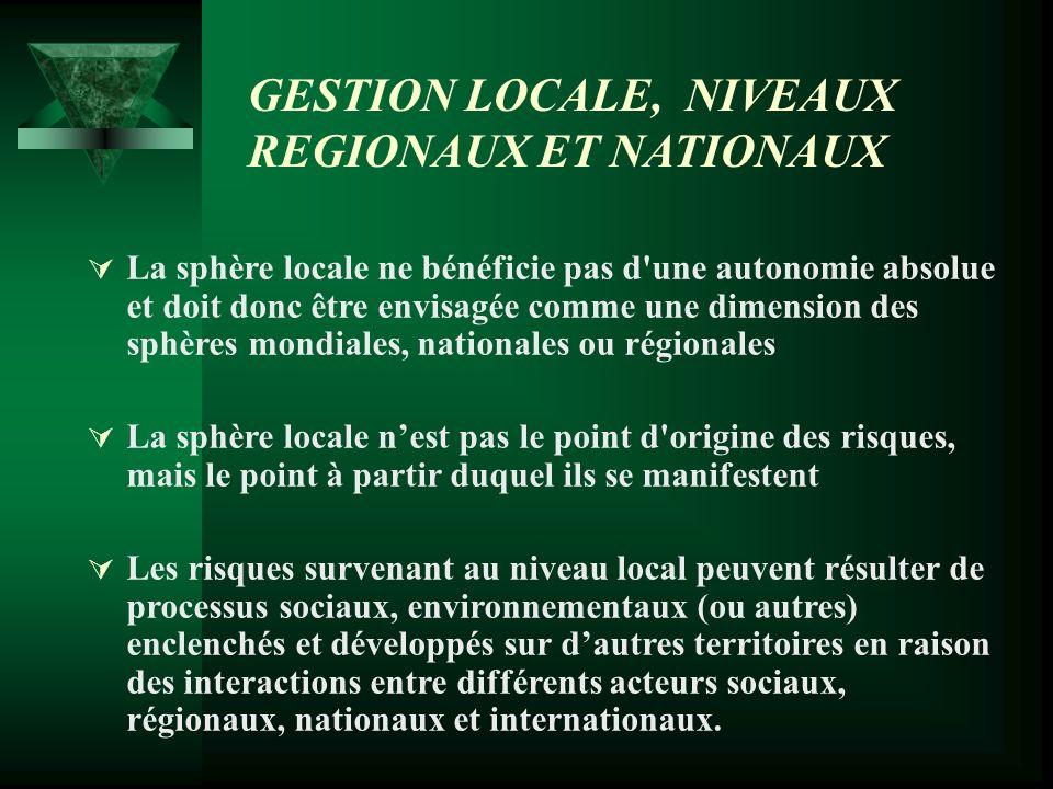 GESTION LOCALE, NIVEAUX RÉGIONAUX ET NATIONAUX Désormais, pour leurs projets, les directions locales ne peuvent plus se passer de relations, de concertations et de coordination avec les acteurs extraterritoriaux.