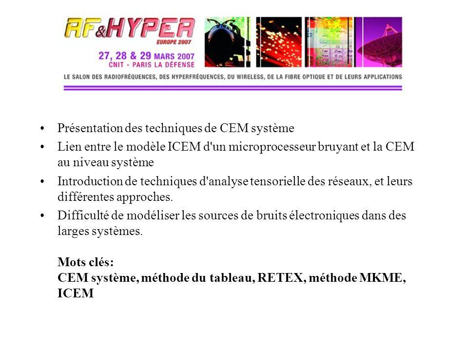 Présentation des techniques de CEM système Lien entre le modèle ICEM d'un microprocesseur bruyant et la CEM au niveau système Introduction de techniqu