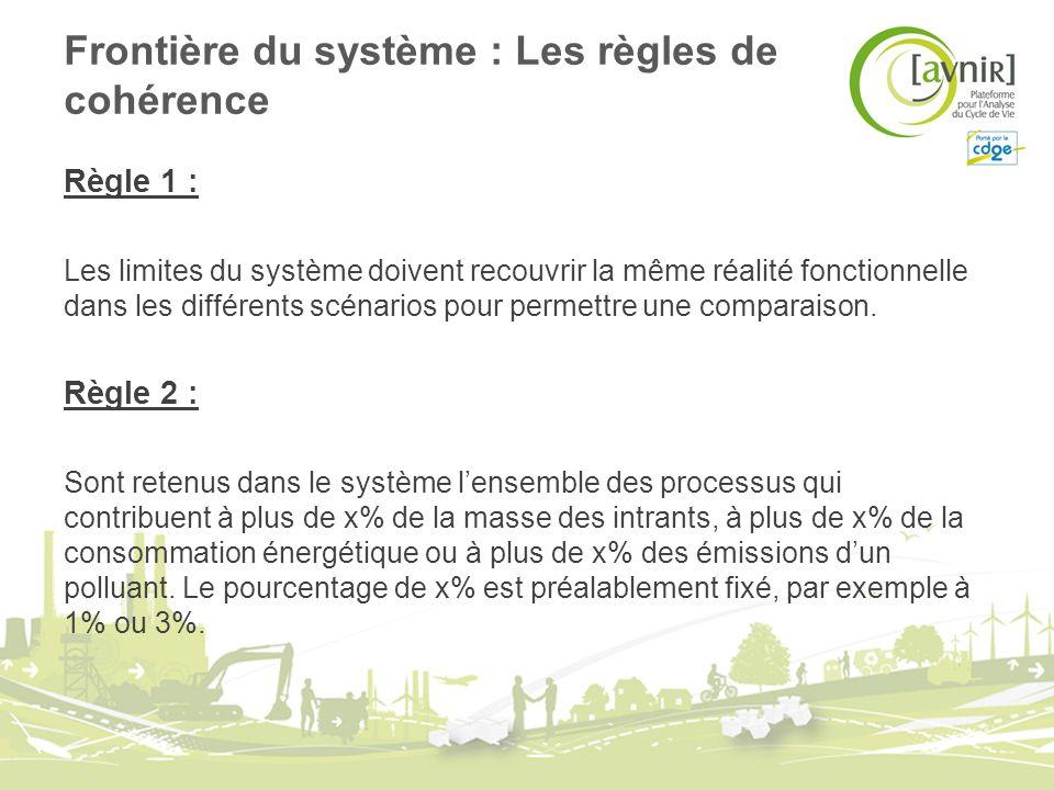 Frontière du système : Les règles de cohérence Règle 1 : Les limites du système doivent recouvrir la même réalité fonctionnelle dans les différents scénarios pour permettre une comparaison.
