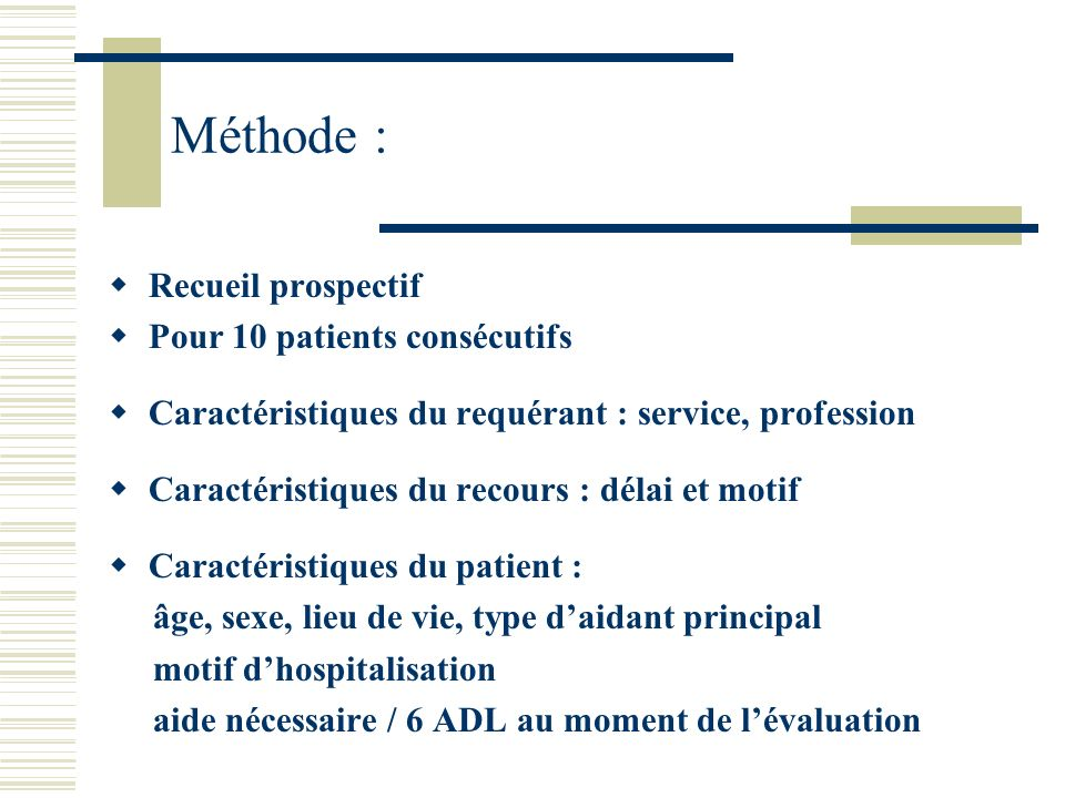 Méthode : Recueil prospectif Pour 10 patients consécutifs Caractéristiques du requérant : service, profession Caractéristiques du recours : délai et m