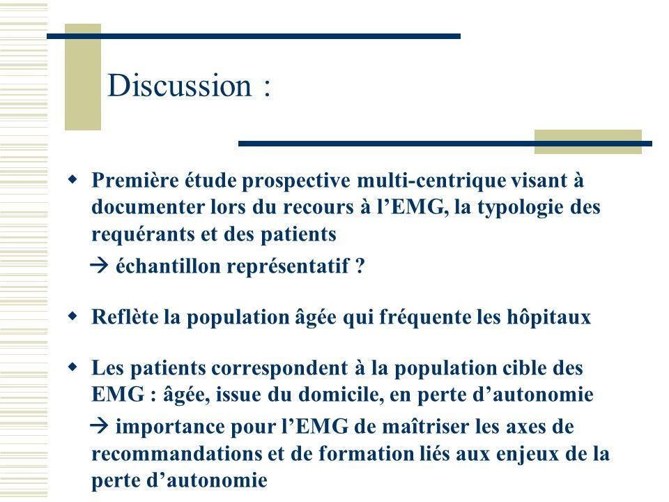 Discussion : Première étude prospective multi-centrique visant à documenter lors du recours à lEMG, la typologie des requérants et des patients échant