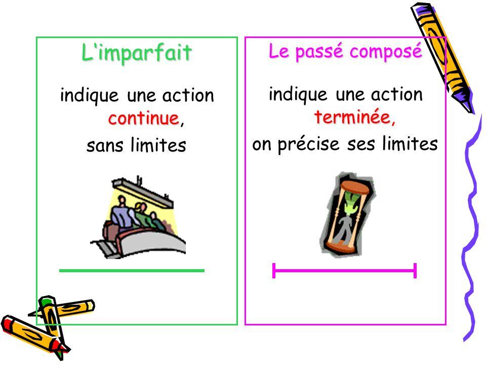 Limparfait indique une action continue, sans limites Le passé composé indique une action terminée, on précise ses limites