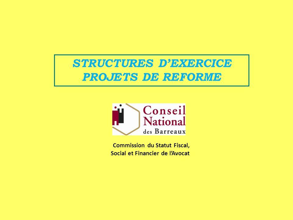 STRUCTURES DEXERCICE PROJETS DE REFORME Commission du Statut Fiscal, Social et Financier de lAvocat