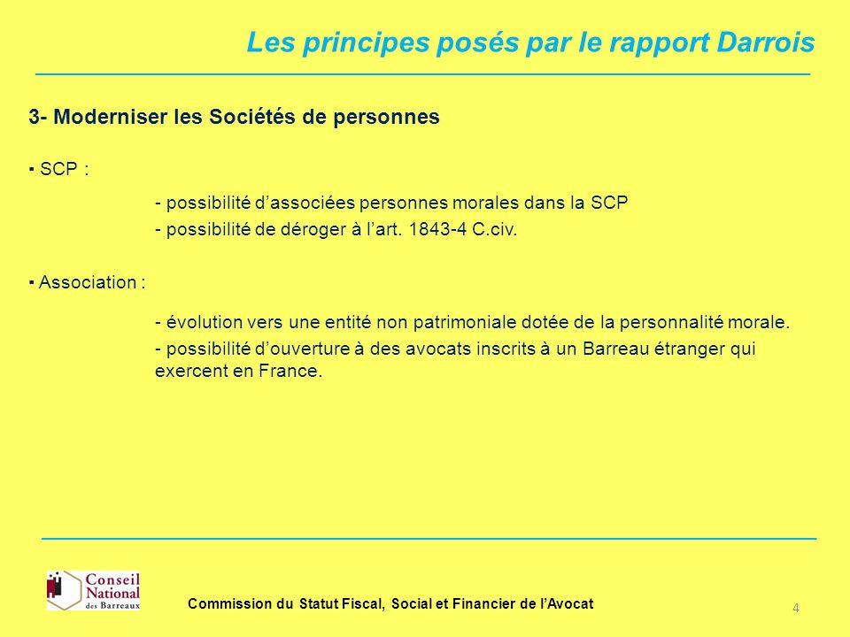 3- Moderniser les Sociétés de personnes SCP : - possibilité dassociées personnes morales dans la SCP - évolution vers une entité non patrimoniale doté