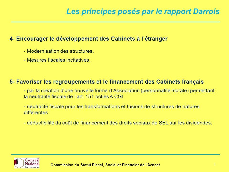 4- Encourager le développement des Cabinets à létranger - Modernisation des structures, - Mesures fiscales incitatives. - neutralité fiscale pour les
