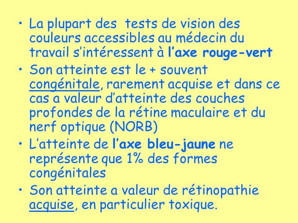 La plupart des tests de vision des couleurs accessibles au médecin du travail sintéressent à laxe rouge-vert Son atteinte est le + souvent congénitale