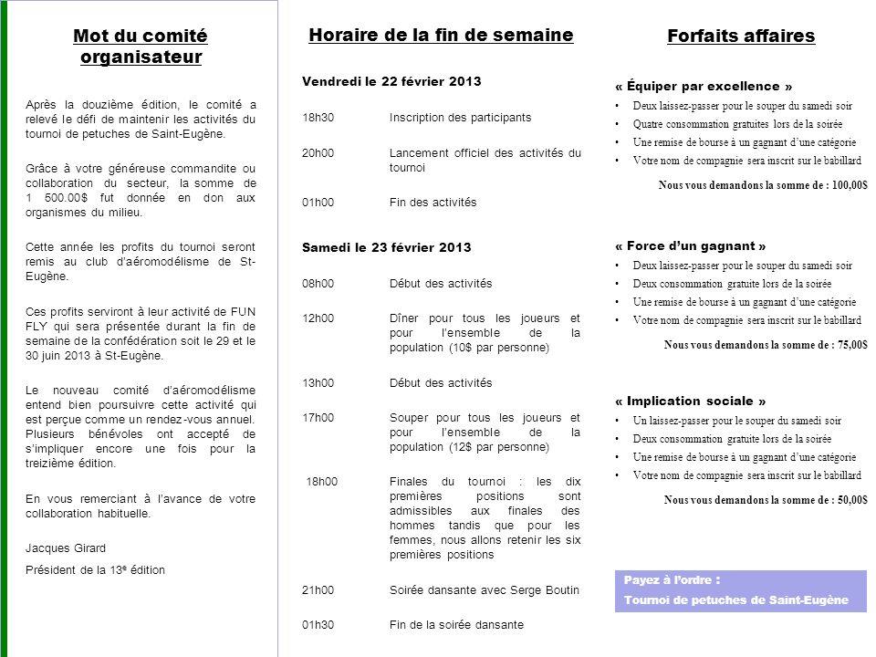 Mot du comité organisateur Après la douzième édition, le comité a relevé le défi de maintenir les activités du tournoi de petuches de Saint-Eugène.