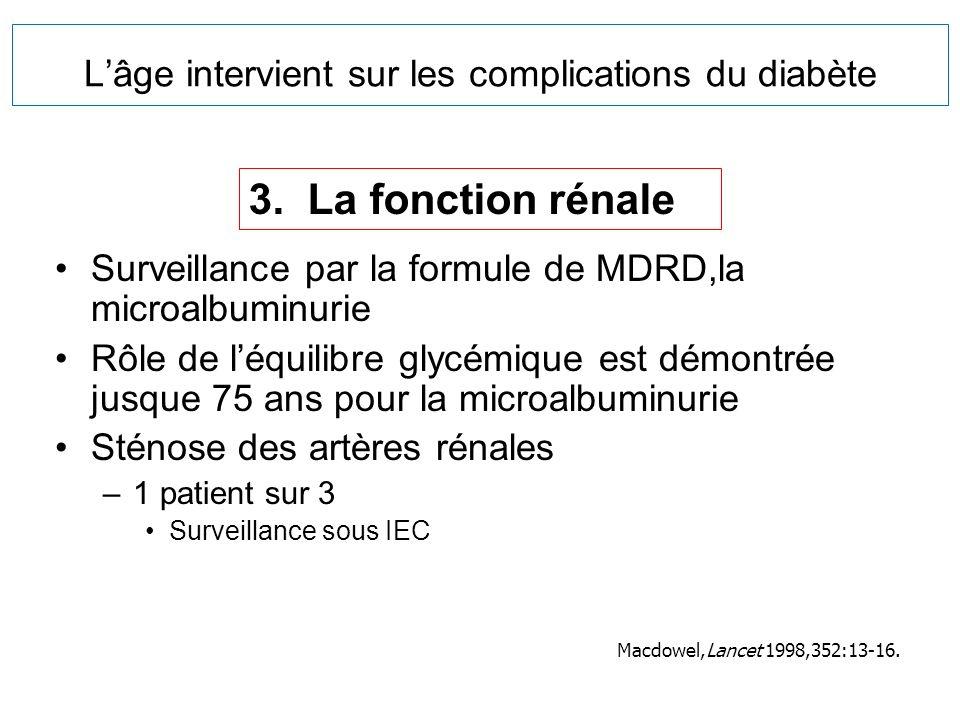 Lâge intervient sur les complications du diabète Surveillance par la formule de MDRD,la microalbuminurie Rôle de léquilibre glycémique est démontrée j