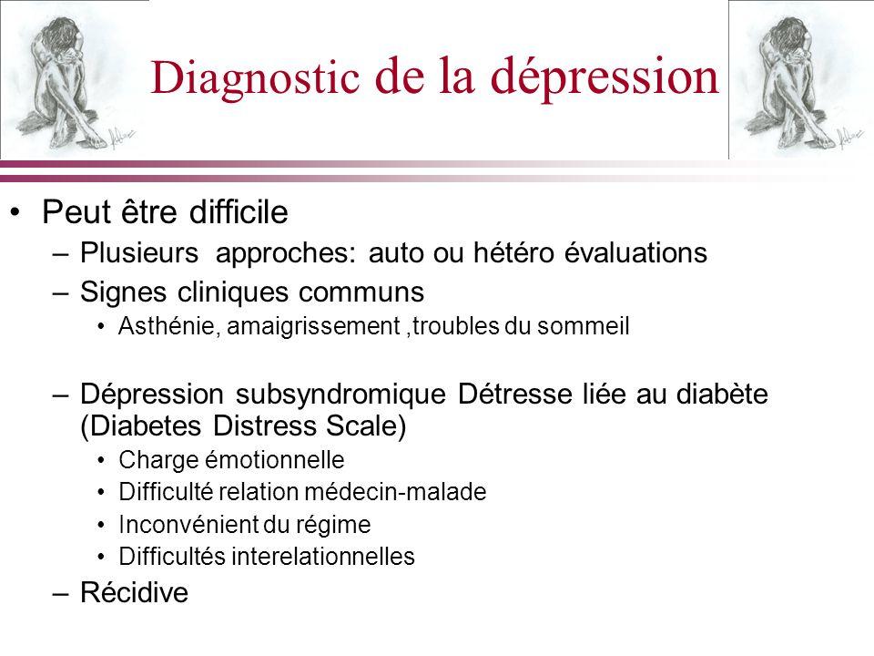 Diagnostic de la dépression Peut être difficile –Plusieurs approches: auto ou hétéro évaluations –Signes cliniques communs Asthénie, amaigrissement,tr