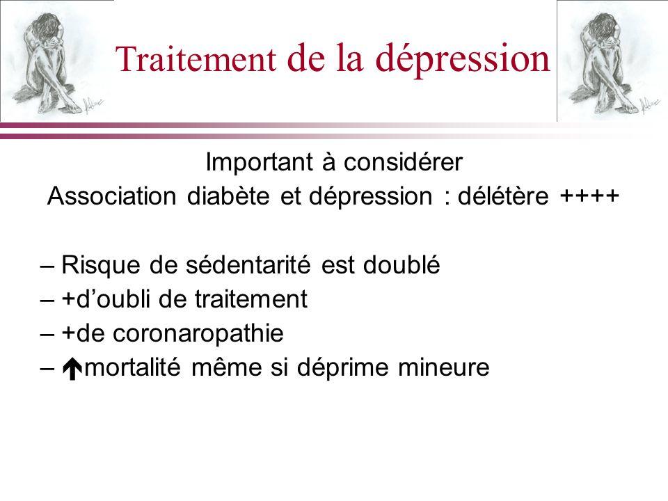 Traitement de la dépression Important à considérer Association diabète et dépression : délétère ++++ –Risque de sédentarité est doublé –+doubli de tra