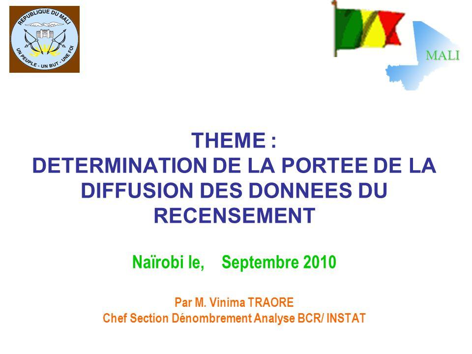 THEME : DETERMINATION DE LA PORTEE DE LA DIFFUSION DES DONNEES DU RECENSEMENT Naïrobi le, Septembre 2010 Par M. Vinima TRAORE Chef Section Dénombremen