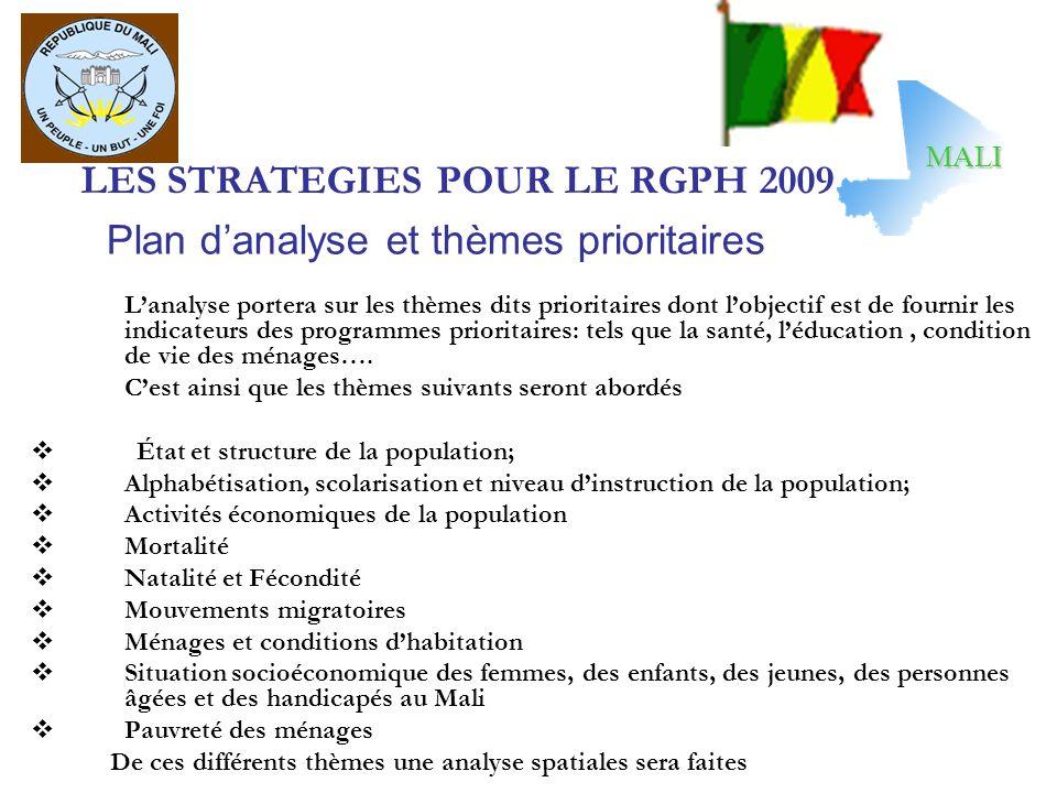 LES STRATEGIES POUR LE RGPH 2009 Lanalyse portera sur les thèmes dits prioritaires dont lobjectif est de fournir les indicateurs des programmes prioritaires: tels que la santé, léducation, condition de vie des ménages….