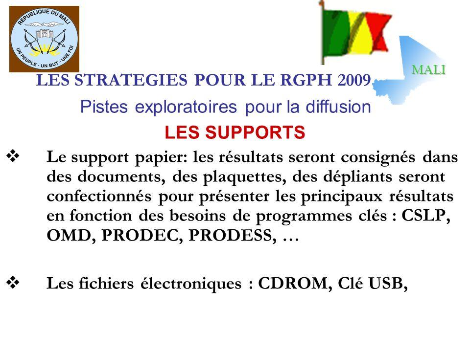 LES STRATEGIES POUR LE RGPH 2009 LES SUPPORTS Le support papier: les résultats seront consignés dans des documents, des plaquettes, des dépliants sero