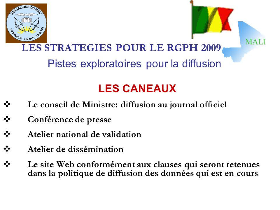 LES STRATEGIES POUR LE RGPH 2009 LES CANEAUX Le conseil de Ministre: diffusion au journal officiel Conférence de presse Atelier national de validation
