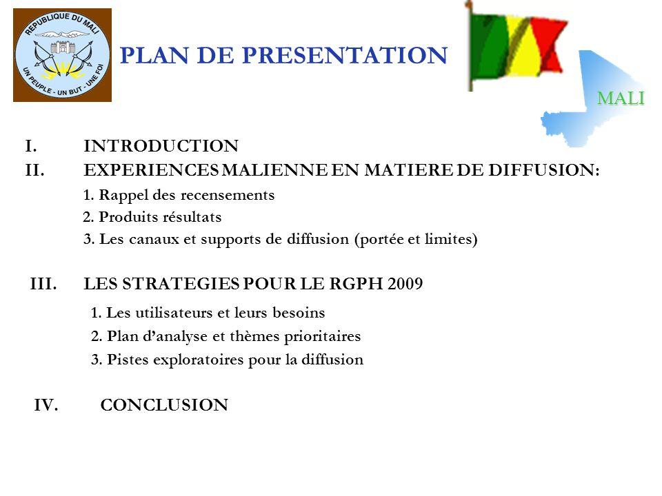 PLAN DE PRESENTATION I.INTRODUCTION II.EXPERIENCES MALIENNE EN MATIERE DE DIFFUSION: 1. Rappel des recensements 2. Produits résultats 3. Les canaux et