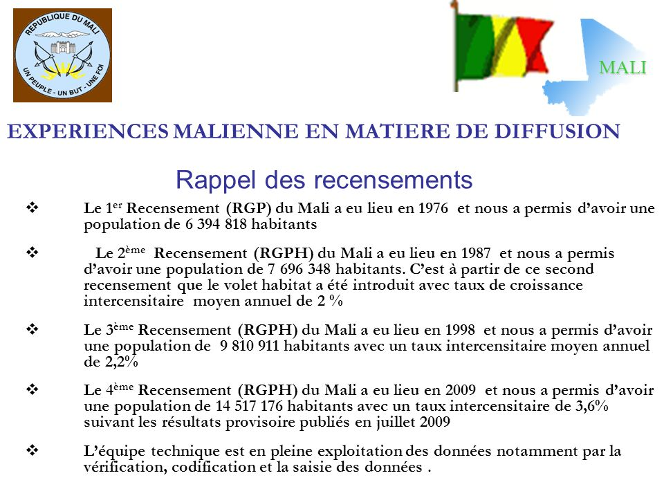 EXPERIENCES MALIENNE EN MATIERE DE DIFFUSION Le 1 er Recensement (RGP) du Mali a eu lieu en 1976 et nous a permis davoir une population de 6 394 818 h