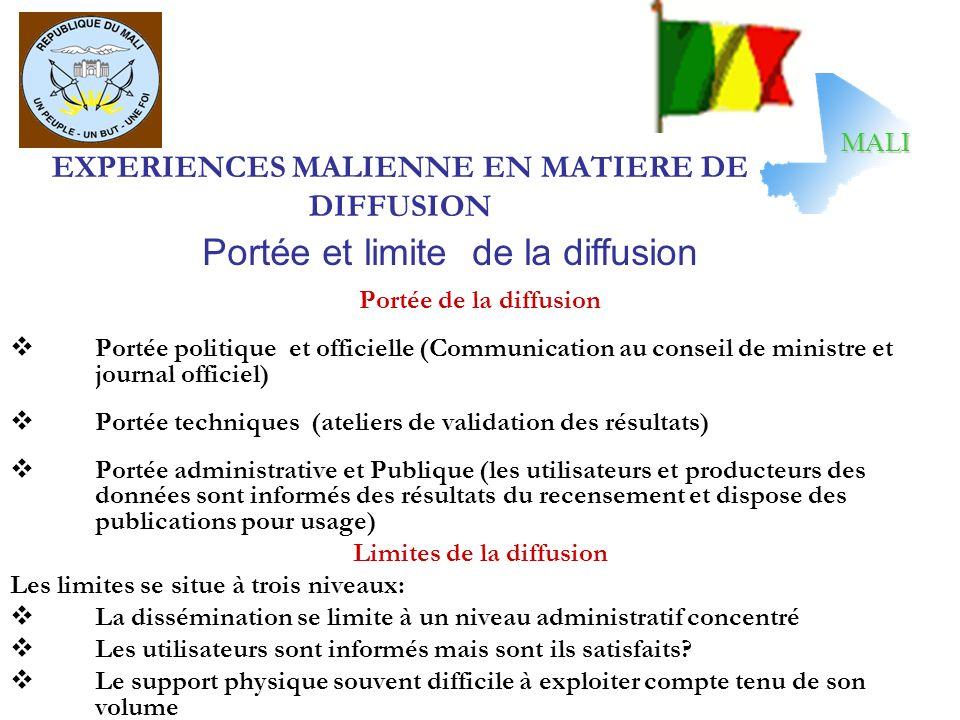 EXPERIENCES MALIENNE EN MATIERE DE DIFFUSION Portée de la diffusion Portée politique et officielle (Communication au conseil de ministre et journal of