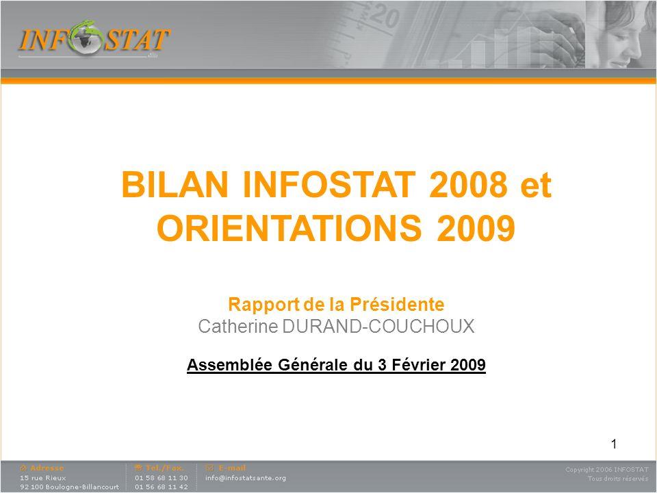 1 BILAN INFOSTAT 2008 et ORIENTATIONS 2009 Rapport de la Présidente Catherine DURAND-COUCHOUX Assemblée Générale du 3 Février 2009