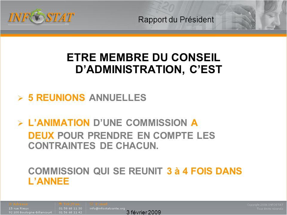 3 février 2009 Rapport du Président ETRE MEMBRE DU CONSEIL DADMINISTRATION, CEST 5 REUNIONS ANNUELLES LANIMATION DUNE COMMISSION A DEUX POUR PRENDRE EN COMPTE LES CONTRAINTES DE CHACUN.