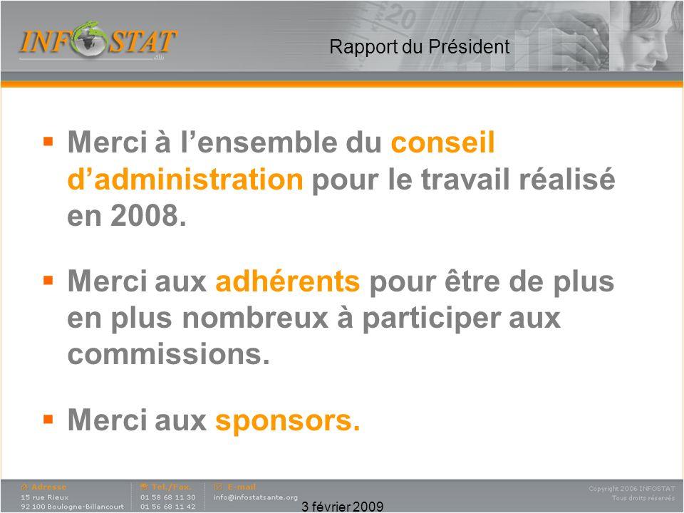 3 février 2009 Rapport du Président Merci à lensemble du conseil dadministration pour le travail réalisé en 2008.
