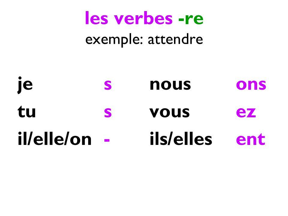 les verbes -re exemple: attendre jes tus il/elle/on- nousons vousez ils/ellesent