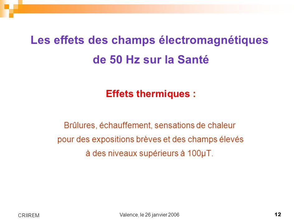 Valence, le 26 janvier 200612 CRIIREM Les effets des champs électromagnétiques de 50 Hz sur la Santé Effets thermiques : Brûlures, échauffement, sensa