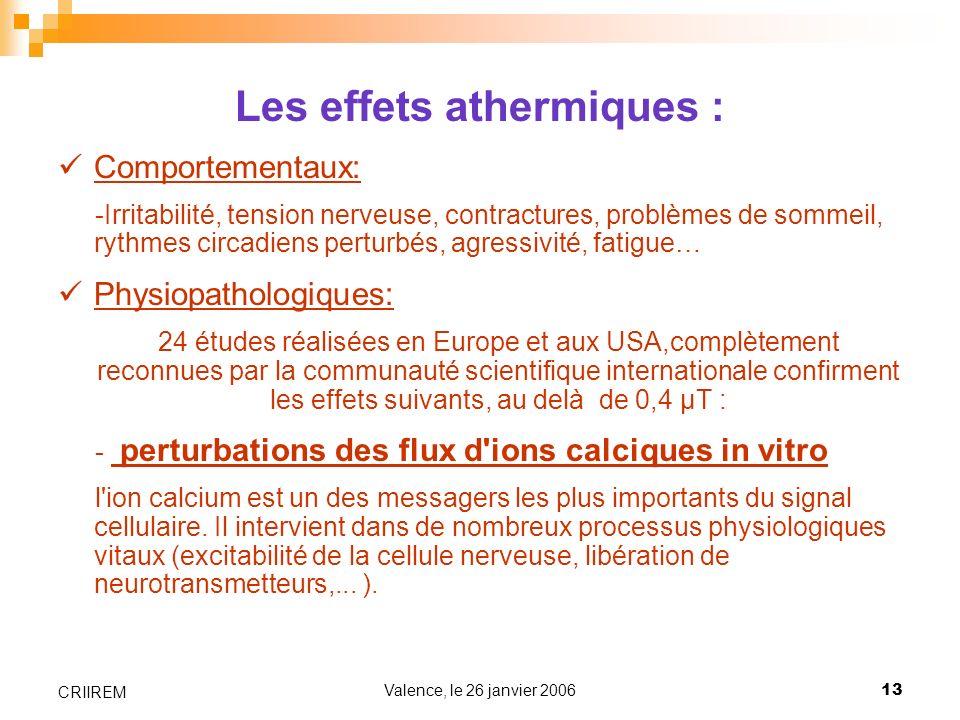 Valence, le 26 janvier 200613 CRIIREM Les effets athermiques : Comportementaux: -Irritabilité, tension nerveuse, contractures, problèmes de sommeil, r
