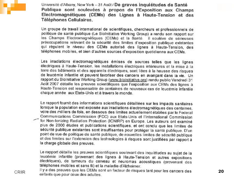 Valence, le 26 janvier 200620 CRIIREM
