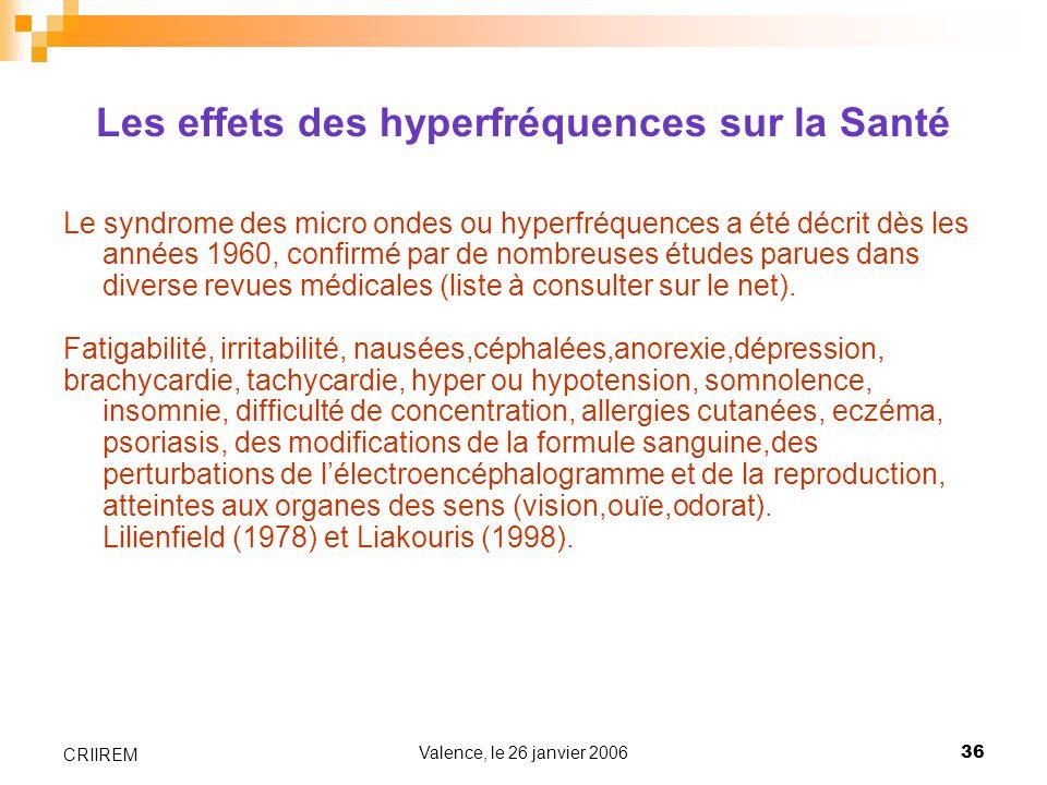 Valence, le 26 janvier 200636 CRIIREM Les effets des hyperfréquences sur la Santé Le syndrome des micro ondes ou hyperfréquences a été décrit dès les