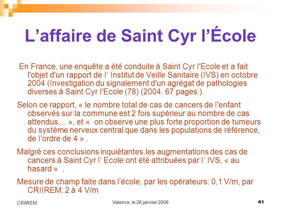 Valence, le 26 janvier 200641 CRIIREM Laffaire de Saint Cyr lÉcole En France, une enquête a été conduite à Saint Cyr I'Ecole et a fait l'objet d'un ra