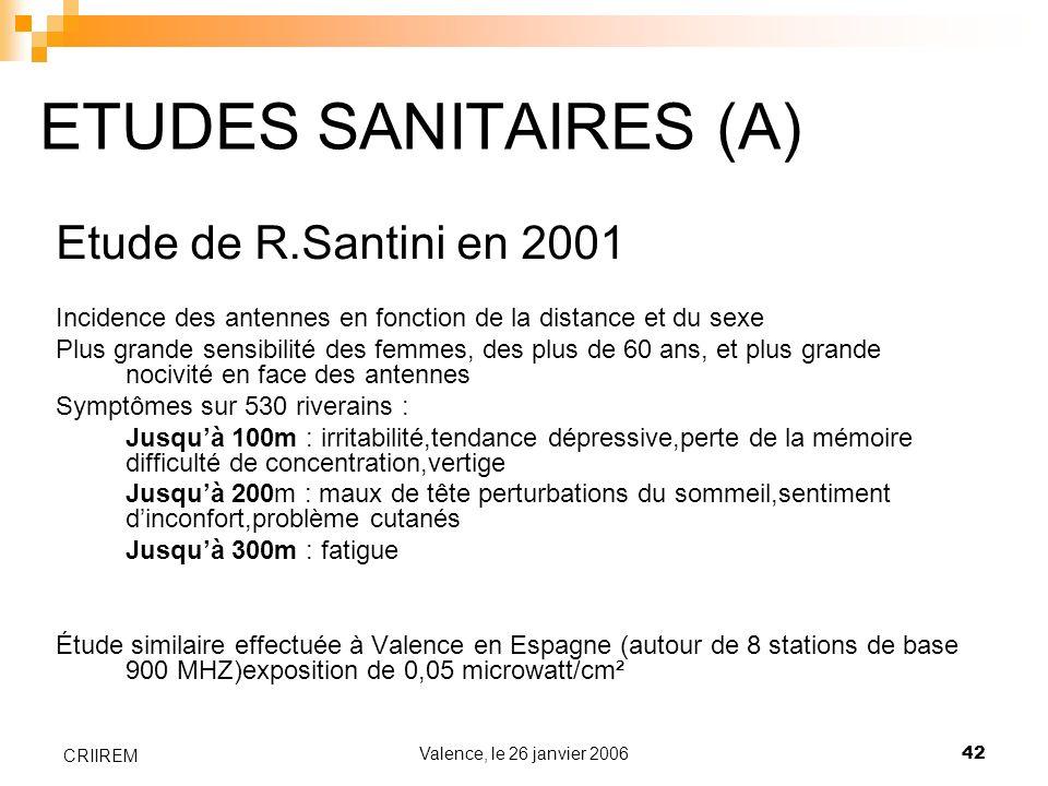 Valence, le 26 janvier 200642 CRIIREM ETUDES SANITAIRES (A) Etude de R.Santini en 2001 Incidence des antennes en fonction de la distance et du sexe Pl