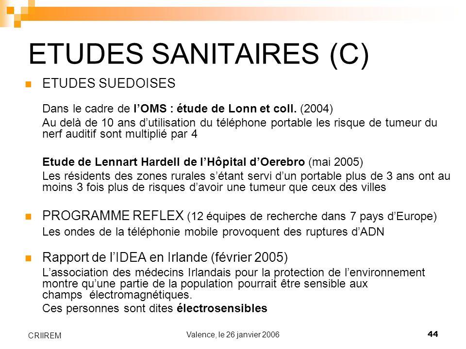 Valence, le 26 janvier 200644 CRIIREM ETUDES SANITAIRES (C) ETUDES SUEDOISES Dans le cadre de lOMS : étude de Lonn et coll. (2004) Au delà de 10 ans d