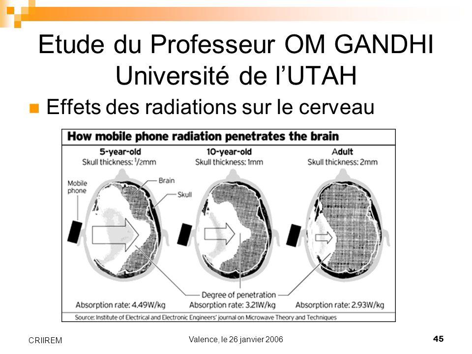 Valence, le 26 janvier 200645 CRIIREM Etude du Professeur OM GANDHI Université de lUTAH Effets des radiations sur le cerveau