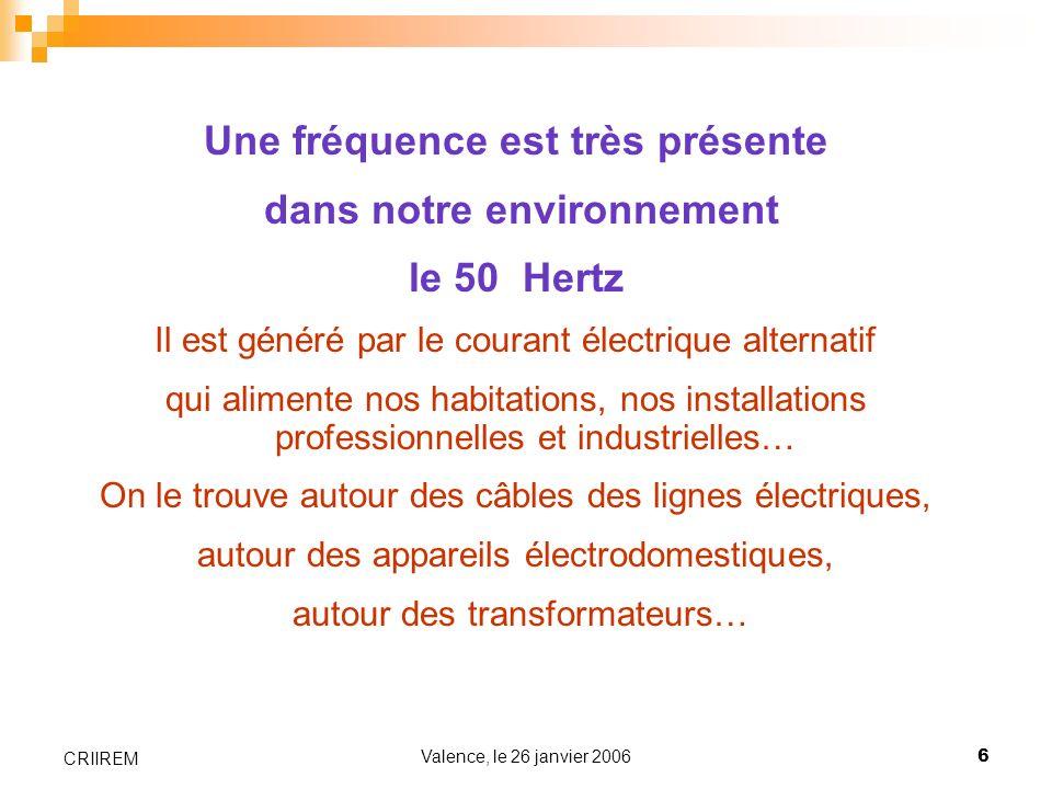 Valence, le 26 janvier 20066 CRIIREM Une fréquence est très présente dans notre environnement le 50 Hertz Il est généré par le courant électrique alte
