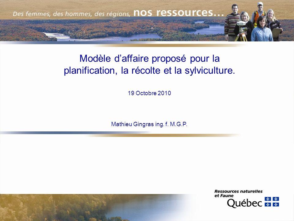 Modèle daffaire proposé pour la planification, la récolte et la sylviculture.